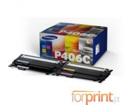 4 Cartuchos de Toneres Originales, Samsung 406S Negro + Colores ~ 1.000 Paginas